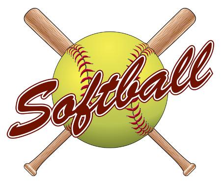 Softbal Team Design is een illustratie van een softbal ontwerp met een softbal, gekruiste knuppels en het woord softbal. Geweldig voor het team t-shirts.