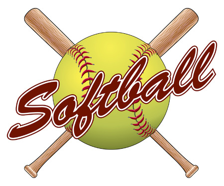 Softball Team Design is an illustration of a softball design with a softball, crossed bats and the word softball. Great for team t-shirts. Vettoriali