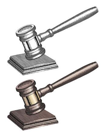 autoridad: Gavel - Hand Drawn es una ilustración de un martillo utilizado por los jueces de la corte y otros símbolos de autoridad. En tanto en blanco y negro y color, este martillo dibujado a mano se utiliza para llamar la atención o para puntuar resoluciones y proclamas.