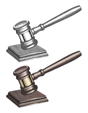 punctuate: Gavel - Hand Drawn is an illustration of a gavel used by court judges and other symbols of authority. In both black and white and color, this hand drawn gavel is used to call for attention or to punctuate rulings and proclamations.