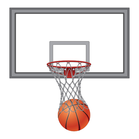 recreational: Basketball Net With Backboard is an illustration of a basketball going into a basketball net. Includes the basketball backboard.