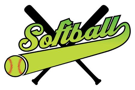 softbol: Softbol con la bandera y Ballr es una ilustración de un diseño de softball con una pelota de béisbol, bates y texto. Incluye una cola o bandera de la cinta para su propio nombre del equipo o el otro texto. Grande para las camisetas.