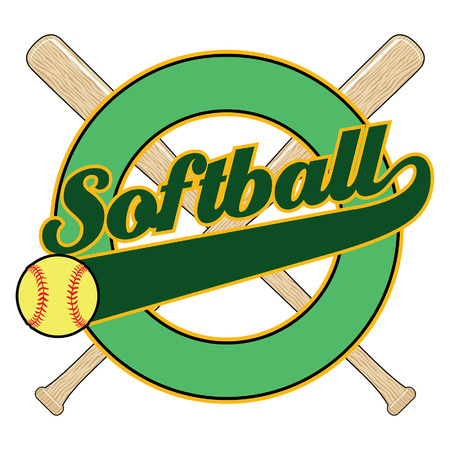 league: Softball With Tail Banner is an illustration of a softball design with the word softball, bats, a tail banner and empty circle element with space for your own text. Illustration