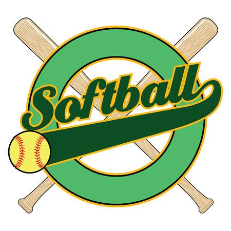 softbol: Softbol con la bandera de la cola es una ilustraci�n de un dise�o de softball con la palabra softball, murci�lagos, una bandera de la cola y el elemento c�rculo vac�o con espacio para su propio texto.