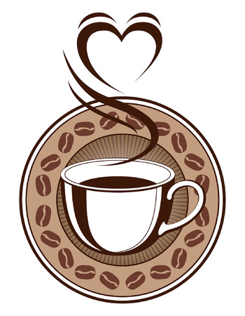 Coffee Design With Steaming Heart is an illustration of a design with a cup of coffee with steam coming off of it making the shape of a heart. Also includes a coffee bean ring and sunburst background. 向量圖像