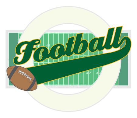 terrain foot: Football Avec Queue Banner est une illustration d'une conception du football avec le mot football avec une banni�re de queue pour votre propre texte, un ballon de football, un terrain de football, et une forme de cercle qui peut contenir plus de votre propre texte.