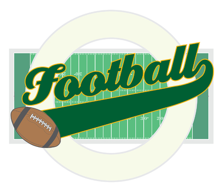 pigskin: Football With Tail Banner is an illustration of a football design with the word Football with a tail banner for your own text, a football, a football field, and a circle shape that can contain more of your own text.