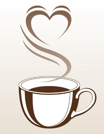 하트 모양 김과 함께 커피 또는 차 컵 증기 심장의 모양을 만드는 그것의 떨어져오고 커피 또는 차 한잔과 함께 그림입니다.
