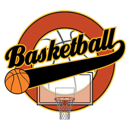 basketball: Basketball With Tail Banner is an illustration of a basketball design with the word basketball, a basketball, a basketball backboard with net, a tail banner and empty circle element with space for your own text.