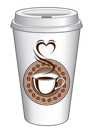 taza cafe: Café To Go Diseño Taza Con Vapor Corazón es una ilustración de un diseño de café en una taza para ir. Incluye una taza de café con el vapor que fuera de ella haciendo la forma de un corazón. También incluye un anillo de grano de café y fondo del resplandor solar.