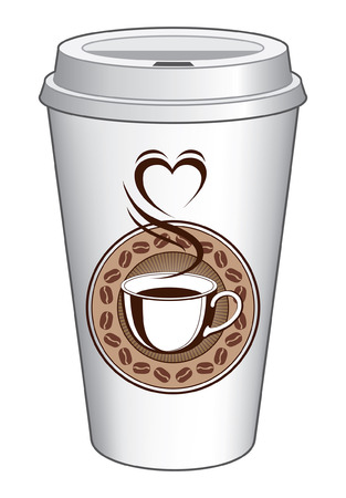 Coffee To Go Cup Design With Steaming Heart is an illustration of a coffee design on a to go cup. Includes a cup of coffee with steam coming off of it making the shape of a heart. Also includes a coffee bean ring and sunburst background.