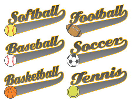 softball: Sports With Tail Banners is an illustration representing six sports including baseball, softball, basketball football, soccer and tennis. The art contains text for the name of the sport with an empty tail banner and ball illustration.