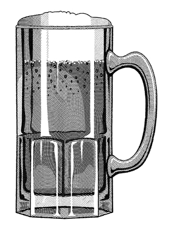 pint glass: Beer Mug Engraved Style is an illustration of a beer mug done in a vintage engraved style.
