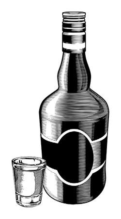 Whiskey Fles en Shot Glass is een illustratie van een fles en een borrelglas gedaan in een vintage gegraveerde stijl. Stock Illustratie