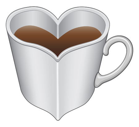 Heart Shaped Cup or Mug is an illustration expressing the love of coffee or tea with a heart shaped cup or mug.