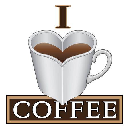 Ik houd van Koffie is een illustratie uiting van de liefde van koffie. Inclusief een hartvormige koffiekop of mok.