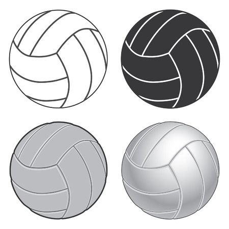 ranging: Volleyball Four Ways is an illustration of four versions of a volleyball ranging from simple black and white version to a more complex or realistic version.