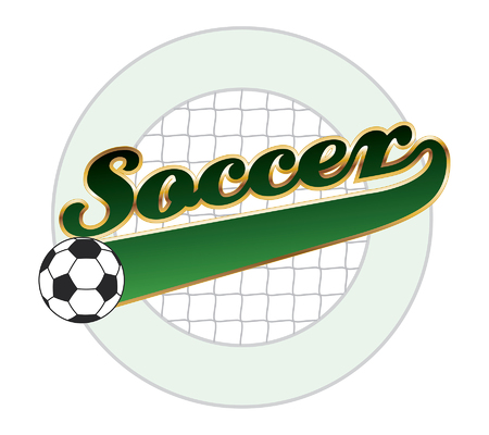 soccer net: Soccer With Tail Banner is an illustration of a soccer design with the word soccer, a net background, a tail banner and empty circle element with space for your own text.