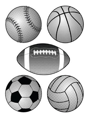 exercise equipment: Halftone Sports Balls is an illustration of a baseball, basketball, football, soccer ball and volleyball in a black and white halftone style. Illustration