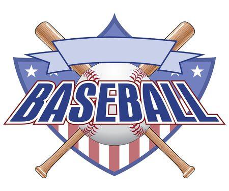 beisbol: Béisbol Diseño Con Shield es una ilustración de un diseño del béisbol. Incluye un escudo, béisbol, bates de béisbol, la bandera y el texto. Grande para las camisetas. Vectores