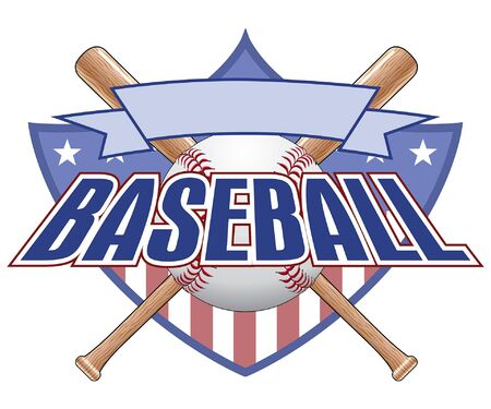 baseball bat: Baseball Design With Shield is an illustration of a baseball design. Includes a shield, baseball, baseball bats, banner and text. Great for t-shirts. Illustration