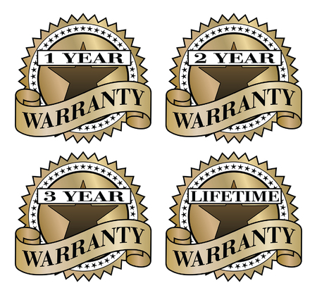 1 year warranty: Warranty Labels is an illustration of 1 year, 2 year, three year and lifetime warranty labels.