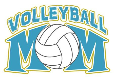 volleyball: Volleyball Mom Design is an illustration of a design for volleyball Moms. Includes a volleyball and text. Great for t-shirts.