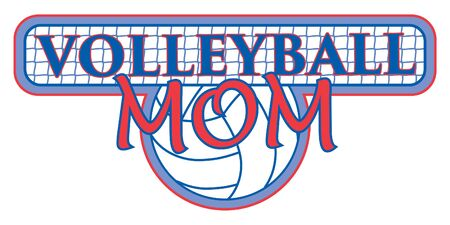volleyball: Volleyball Mom With Net Design is an illustration of a design for volleyball Moms. Includes a volleyball and text with net background. Great for t-shirts. Illustration