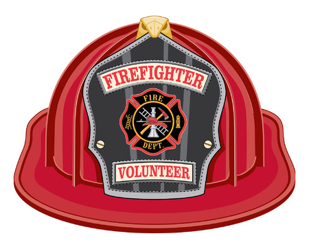 Firefighter Volunteer Red Helmet is an illustration of a red firefighter helmet or fireman hat from the front with a shield, Maltese cross and firefighter tools logo.