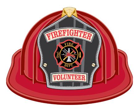 Firefighter Volunteer rode helm is een illustratie van een rode brandweerman helm of brandweerman hoed van de voorzijde met een schild, Maltezer kruis en brandweerman gereedschap logo. Stock Illustratie