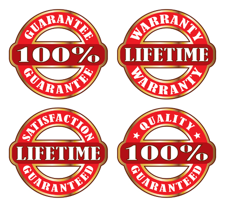 satisfaction guaranteed: Lifetime Satisfaction Guarantee Warranty is an illustration or graphic of four satisfaction guaranteed and warranty labels or emblems.