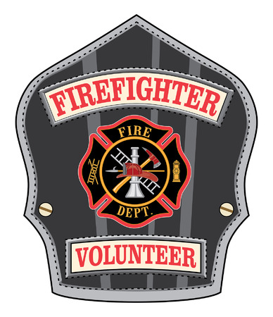 Firefighter Volunteer Badge is an illustration of a volunteer firefighters or firemans shield or badge with a Maltese cross and firefighter tools  Ilustracja