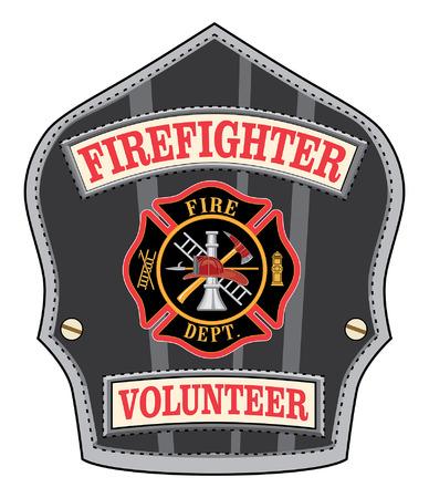 Insignia del bombero voluntario es una ilustración de un escudo de bomberos voluntarios o bombero o insignia con una cruz de Malta y las herramientas de bombero Ilustración de vector
