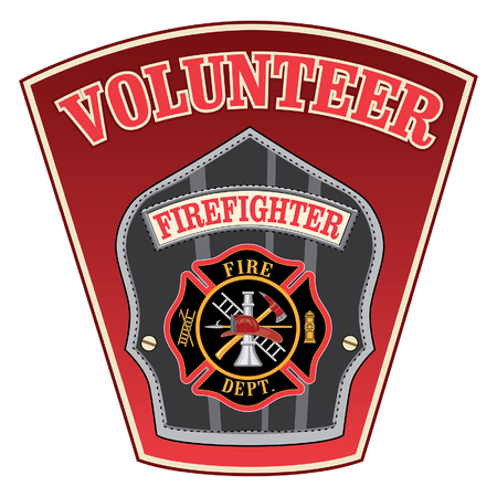Volunteer Firefighter Shield is an illustration of a firefighter or fireman badge with a Maltese cross and firefighter tools logo inside of a shield shape.