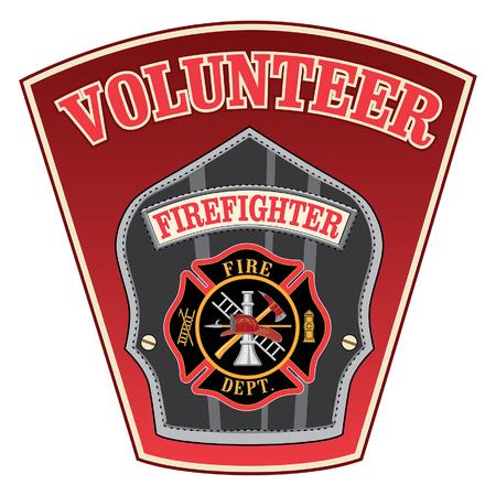 Vrijwilligers Brandbestrijder Shield is een illustratie van een brandweerman of brandweerman badge met een Maltezer kruis en brandweerman gereedschap logo binnenkant van een schild vorm. Stock Illustratie