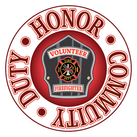 fireman: Volunteer Firefighter Duty Honor is an illustration of a firefighters or firemans badge or shield.  Includes a Maltese cross and firefighter tools logo inside of a shield shape and text that says Duty, Honor and Community.