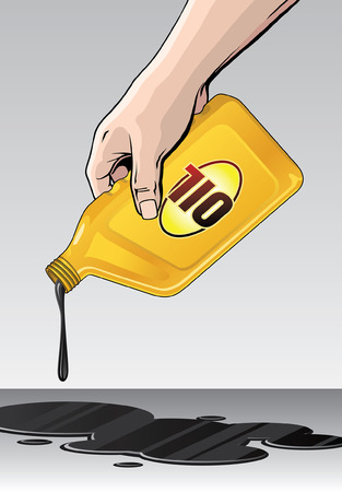 Oil Spill or Pour is an illustration of someone spilling or pouring oil from a yellow quart size motor oil container. Stock Illustratie