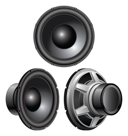 Speaker is an illustration of a speaker from a front view, three-quarter view and rear three-quarter view. Illustration