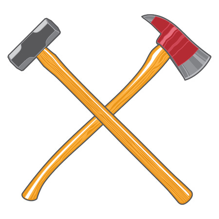 Firefighter Ax and Sledge Hammer is an illustration of a crossed firefighter or firemans ax and a sledge hammer. Çizim