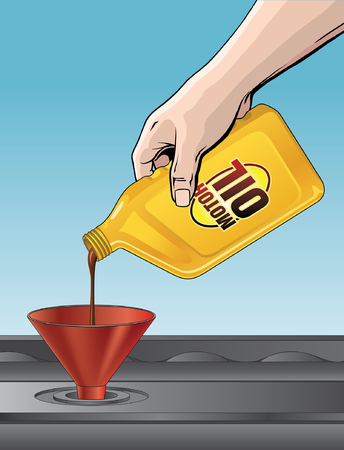 motor oil: Pouring Motor Oil is an illustration of someone pouring oil from a yellow quart size motor oil container into an engine.