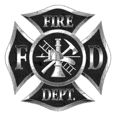Fire Department Cross Silver Engraving is an illustration of a firefighter or fireman Maltese cross in silver engraved style with fireman tools including axe, hook, ladder, hydrant, nozzle and firefighters helmet.