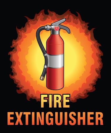 Feuerlöscher Entwurf ist eine Illustration eines Feuerlöschers in Notfällen verwendet, um kleine Brände zusammen mit Text und einem Feuerball löschte.