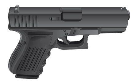 defend: Gun Semi Automatic Handgun is a detailed illustration of a modern black semi-automatic pistol. Illustration