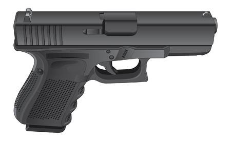 Gun Semi automatisch pistool is een gedetailleerde afbeelding van een moderne zwarte semi-automatisch pistool.