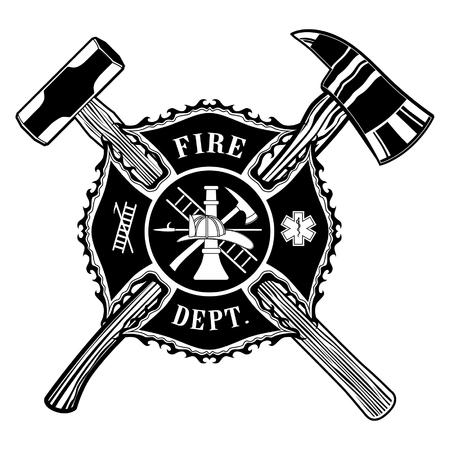 Strażak Krzyż Ax i Sledge Hammer jest ilustracją strażak lub strażak maltańskiego krzyża z przekreślonego siekiery i młotka sankach.