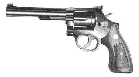 pistola: Arma-Revolver grabó el estilo es una ilustración de un arma de fuego de estilo revólver con empuñadura de madera en un estilo de grabado de la vendimia.