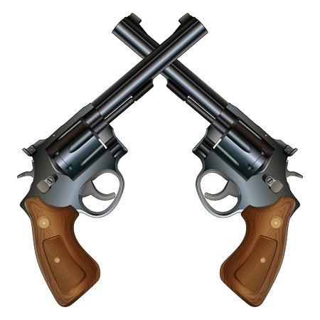 Illustration of two crossed revolver style handguns with wood grips in a detailed realistic style.