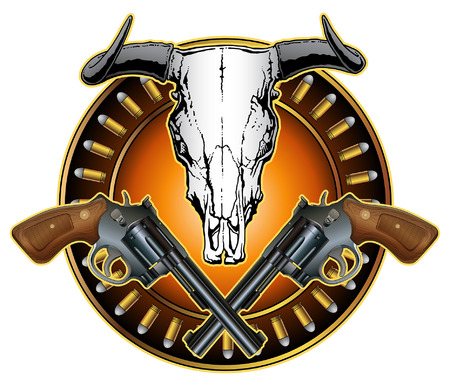 texas longhorn cattle: Western Crossed Pistols and Skull Design is an illustration of crossed revolvers, a bull or steer skull and a ring of bullets in a American western style design.