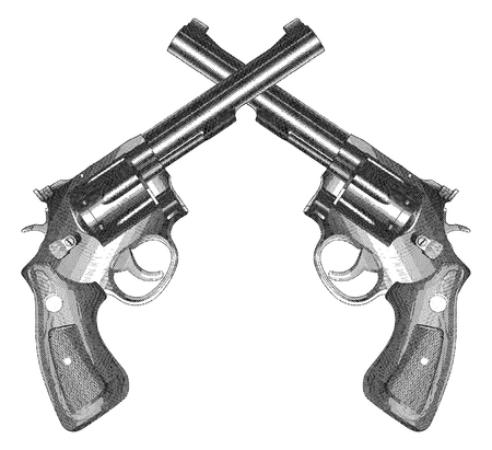 Crossed Pistols Engraved Style is an illustration of two crossed revolver style handguns with wood grips in a vintage engraved style.