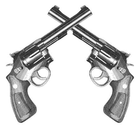 Crossed Pistols Gravé style est une illustration de deux armes de poing croisées de style revolver avec poignées en bois dans un style vintage gravé. Vecteurs